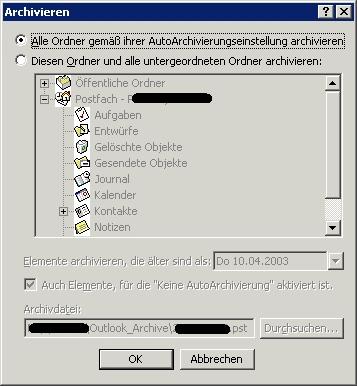 Outlook Autoarchivierung