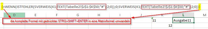 SVerweis als Matrixformel