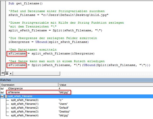 Split Funktion Dateiname ermitteln