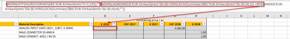 SVerweis Index Vergleich